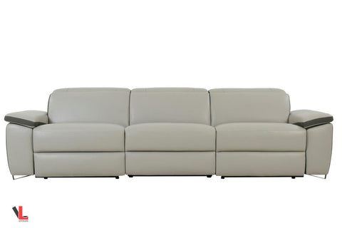 Aura Top Grain Light Grey Leather Power Reclining Sofa
