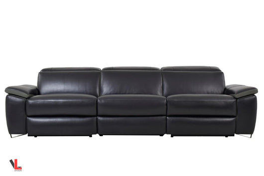 Aura Top Grain Black Leather Power Reclining Sofa