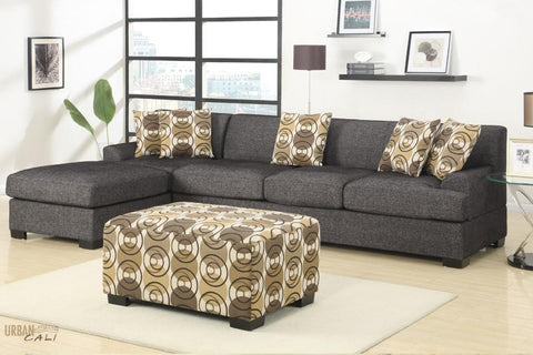 Hayward Ash Black Sectional Sofa Set With Left Facing Chaise by Urban Cali