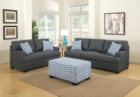 Hayward Sofa and Loveseat Set in Slate Black Polyfiber Linen Fabric