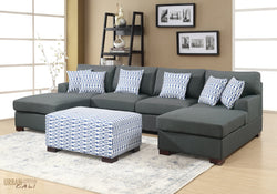 Hayward Small U-Shaped Sectional Sofa In Slate Black Polyfiber Linen Fabric