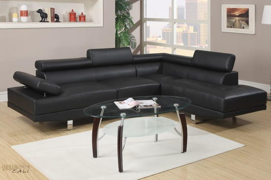Hollywood Black Faux Leather Adjustable Sectional Sofa With Right Facing Chaise by Urban Cali