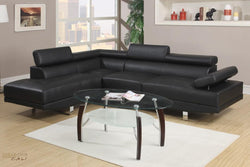 Hollywood Black Faux Leather Adjustable Sectional Sofa With Left Facing Chaise by Urban Cali