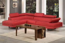 Hollywood Red Linen Adjustable Sectional Sofa With Left Facing Chaise by Urban Cali