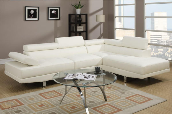 Hollywood White Faux Leather Adjustable Sectional Sofa With Right Facing Chaise by Urban Cali