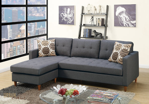 Laguna Small Sectional Sofa with Reversible Chaise In Blue Grey Polyfiber Linen