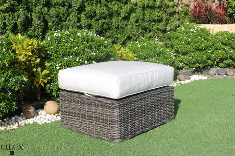 Marseille Wicker Sunbrella Canvas Natural Ottoman / Glass-Top Coffee Table