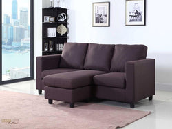 Newport Brown Linen Small Condo Apartment Sized Sectional Sofa with Chaise by Urban Cali