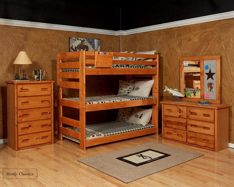 Pine Triple Bunk Bed Twin over Twin over Twin in Amber Wash by Rustic Classics