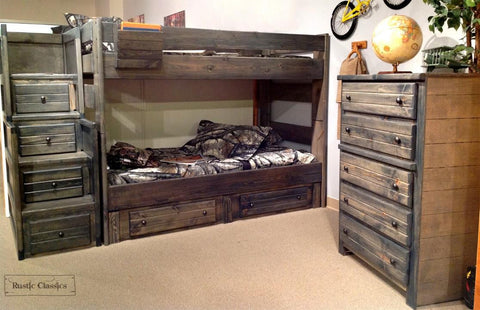 Pine Full Over Full Bunk Bed in Rustic Grey by Rustic Classics