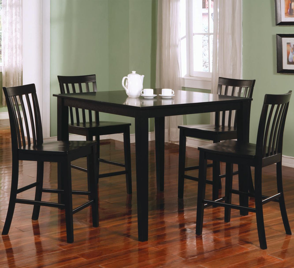 5 Piece Square Black Counter Height Dining Table Set