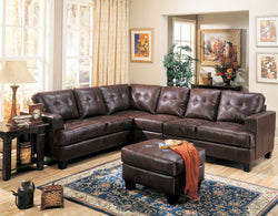 Toronto Tufted Bonded Leather L Shaped Sectional
