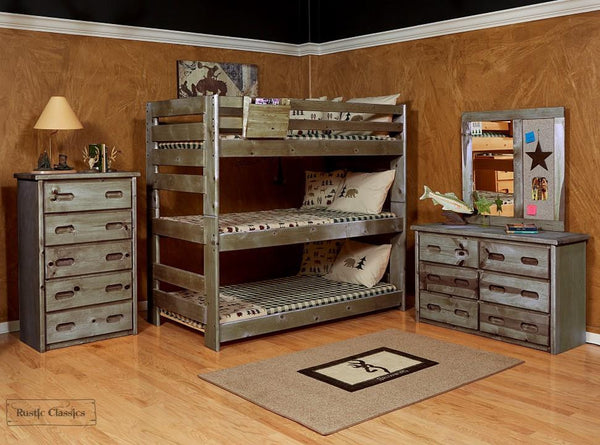 Pine Triple Bunk Bed Twin over Twin over Twin in Rustic Grey by Rustic Classics