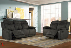 Volo Charcoal Fabric Reclining Sofa and Loveseat Set
