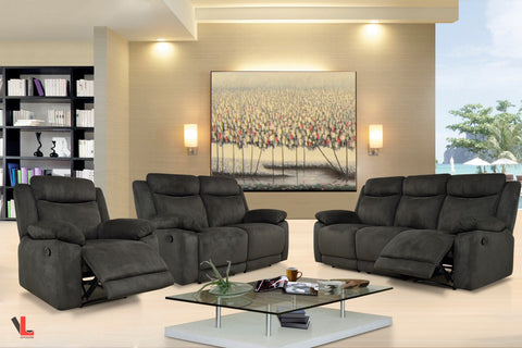 Volo Charcoal Fabric Reclining Sofa, Loveseat, and Chair Set