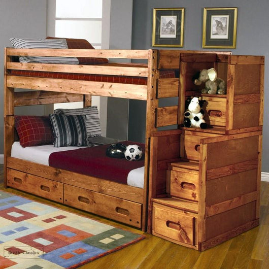 Pine Full over Full Bunk Bed in Amber Wash