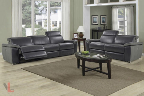 Aura Black Top Grain Leather Power Reclining Sofa and Loveseat by Levoluxe