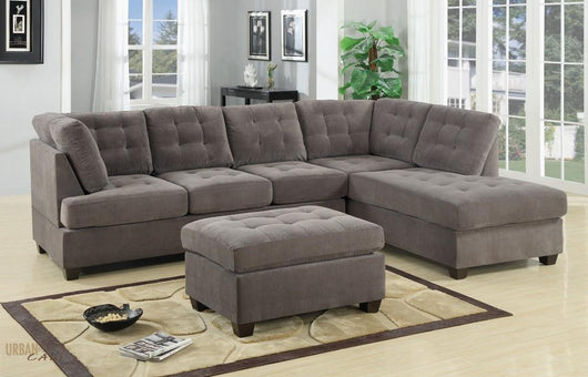 Burbank Charcoal Grey Waffle Suede Sectional with Reversible Chaise