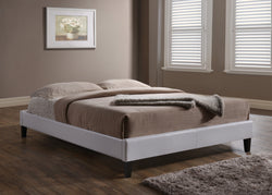Carrington White Faux Leather King Platform Bed