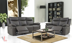 Volo Espresso Leather Reclining Sofa and Loveseat Set by Levoluxe