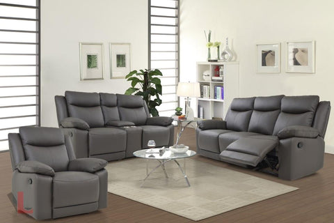 Volo Espresso Leather Reclining Sofa, Loveseat with Console, and Chair Set by Levoluxe