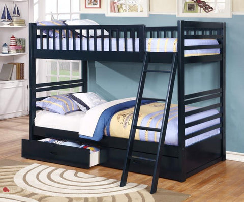 Fraser Navy Twin over Twin Bunk Bed with Storage Drawers and Solid Wood