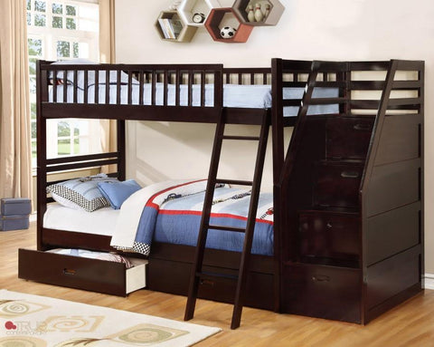 Fraser Espresso Twin over Twin Bunk Bed with Stairway Chest and Storage Drawers