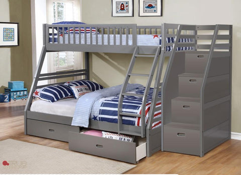 Fraser Grey Twin over Full Bunk Bed with Stairway Chest and Storage Drawers