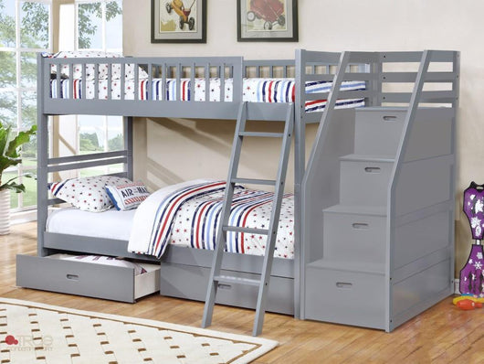 True Contemporary Fraser Grey Twin Over Twin Bunk Bed Kamloops