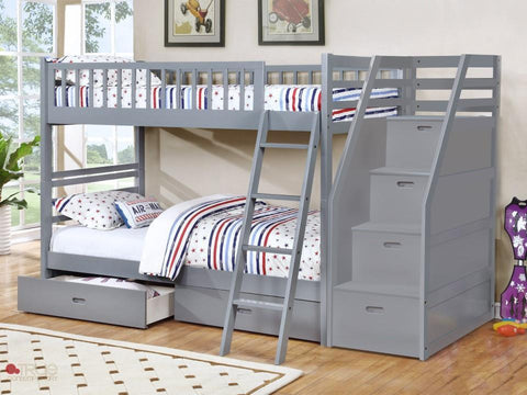 Fraser Grey Twin over Twin Bunk Bed with Stairway Chest and Storage Drawers