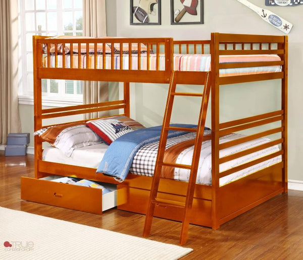 Fraser III Oak Full over Full Bunk Bed with Storage Drawers and Solid Wood