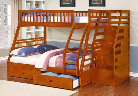 Fraser Oak Twin over Full Bunk Bed with Stairway Chest and Storage Drawers