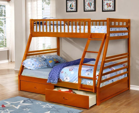 Fraser Oak Twin over Full Bunk Bed with Storage Drawers and Solid Wood