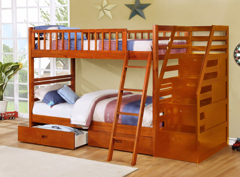 Fraser Oak Twin over Twin Bunk Bed with Stairway Chest and Storage Drawers