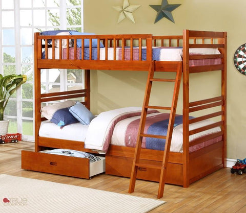 Fraser Oak Twin over Twin Bunk Bed with Storage Drawers and Solid Wood
