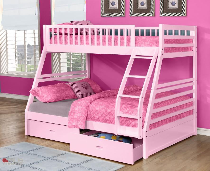 Fraser III Pink Twin over Full Bunk Bed with Storage Drawers and Solid Wood