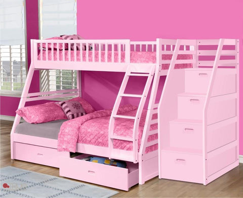 Fraser Pink Twin over Full Bunk Bed with Stairway Chest and Storage Drawers