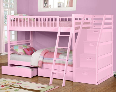 Fraser III Pink Twin over Twin Bunk Bed with Stairway Chest and Storage Drawers