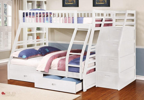 Fraser White Twin over Full Bunk Bed with Stairway Chest and Storage Drawers