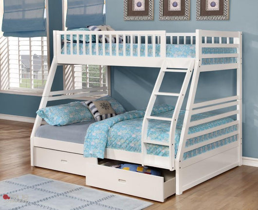 Fraser White Twin over Full Bunk Bed with Storage Drawers and Solid Wood