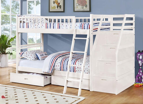 Fraser White Twin over Twin Bunk Bed with Stairway Chest and Storage Drawers