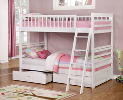 Fraser White Twin over Twin Bunk Bed with Storage Drawers and Solid Wood