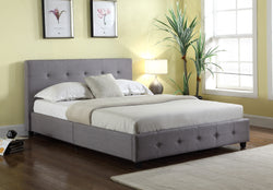 Grace Grey Tufted Linen Platform Bed