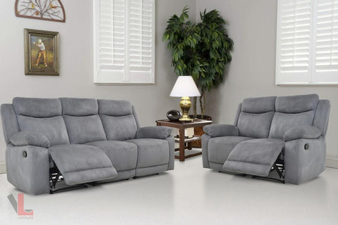 Volo Grey Reclining Sofa and Loveseat Set by Levoluxe