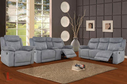 Volo Grey Reclining Sofa, Loveseat with Console, and Chair Set by Levoluxe