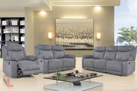 Volo Grey Reclining Sofa, Loveseat, and Chair Set by Levoluxe
