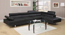 Hollywood Black Faux Leather Adjustable Sectional Sofa with Armless Chair and Right Facing Chaise by Urban Cali