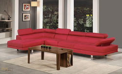Hollywood Red Linen Adjustable Sectional Sofa with Armless Chair and Left Facing Chaise by Urban Cali