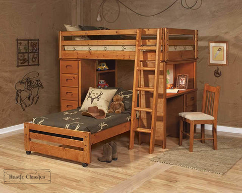 Pine Twin Over Twin Loft Bed In Amber Wash