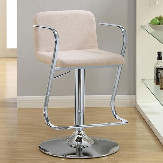Cream Upholstered Adjustable Bar Stool